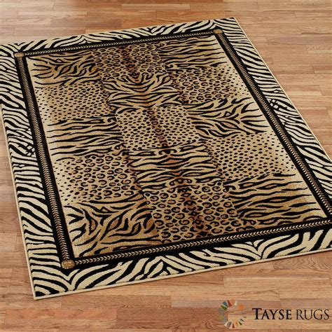 Festival jungle rectangle rug square lines and circles animal pattern with borders wool carpet