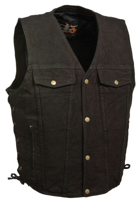 biker vest snap front black denim biker vest with side laces