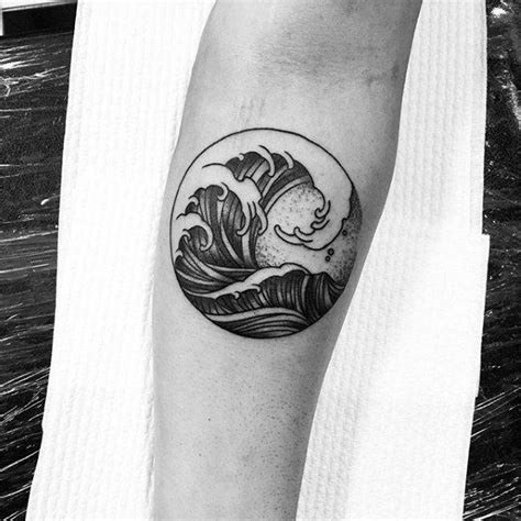 wave tattoos for men circle simple wave inner forearm tattoos for guys
