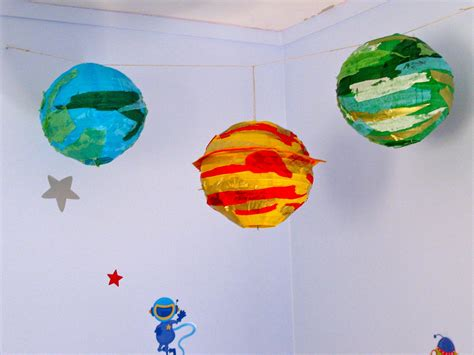 How To Make Paper Planets - paper lantern planets for a space themed bedroom