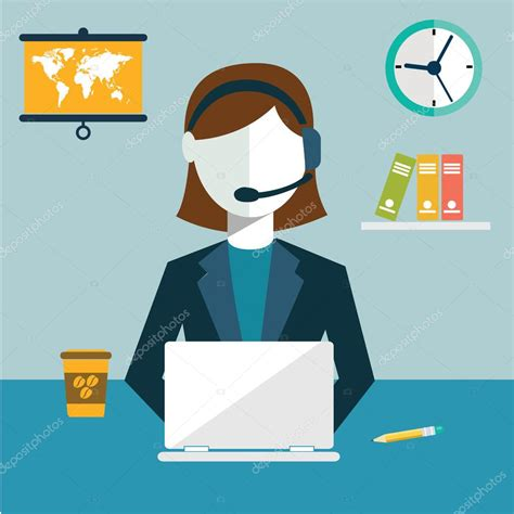 vector flat customer office concept business customer care service concept flat icons set of contact us support help desk phone call