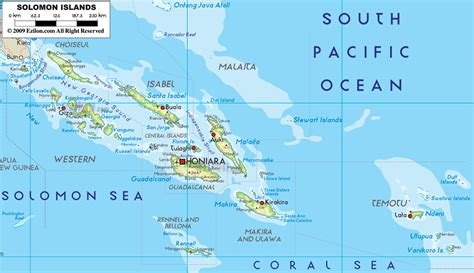 map of islands physical map of solomon islands ezilon maps