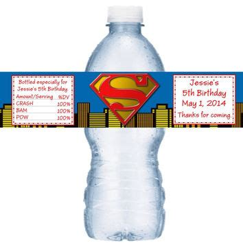 Superman Birthday Giveaways - superman birthday water bottle label from favors today