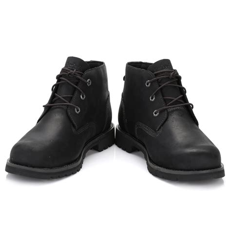 timberland mens chukka boots black leather larchmont