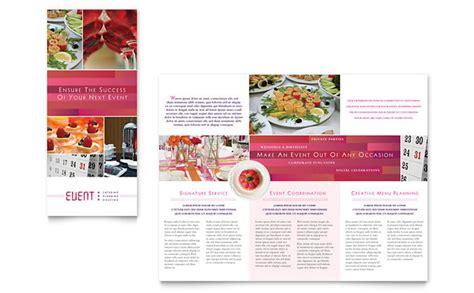 corporate event planner caterer tri fold brochure