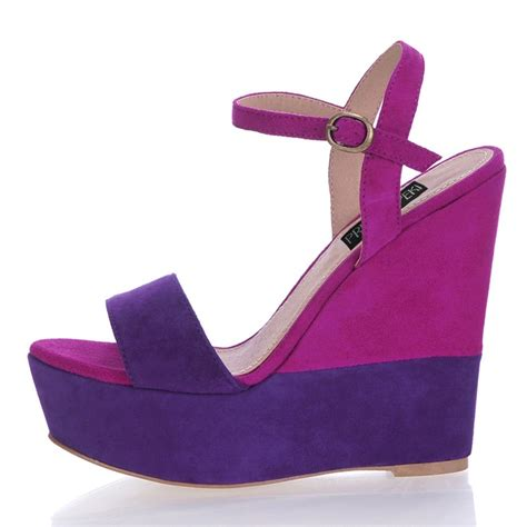 open toe purple wedge wedding shoes for a sky high look