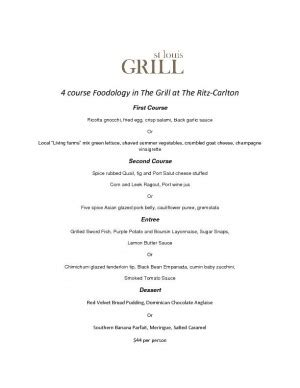 dinner for four menu ideas the feed the grill at the ritz serving four course dinner