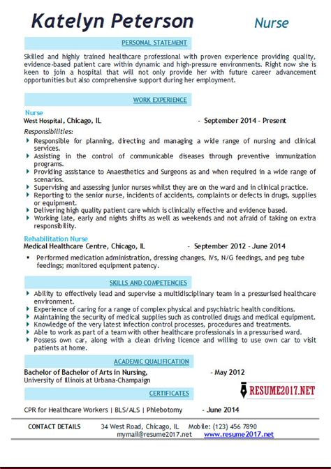 Best Resume Examples Download by Nurse Resume 2017 Examples