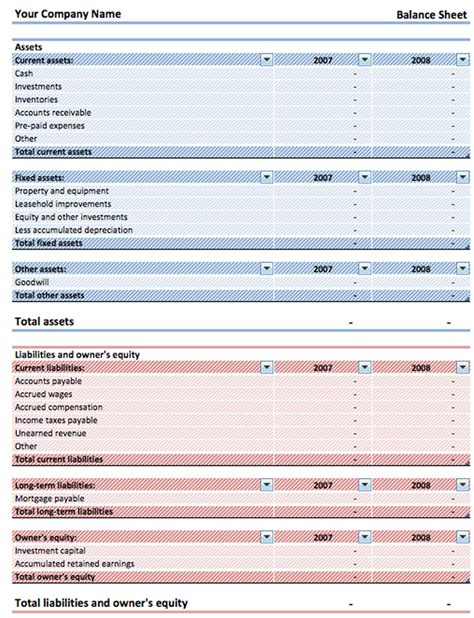 Free Excel Balance Sheet Template by Balance Sheet Template Free Premium Templates