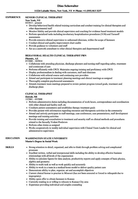 Therapist Resume by Clinical Therapist Resume Sles Velvet