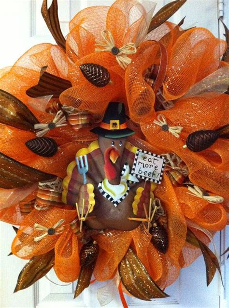 thanksgiving mesh wreath deco mesh metal turkey wreath