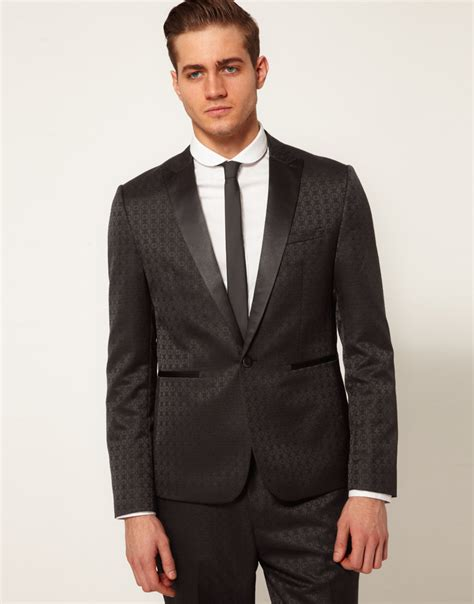 black jacquard pattern slim suit jacket asos slim fit metallic black suit at asos male models