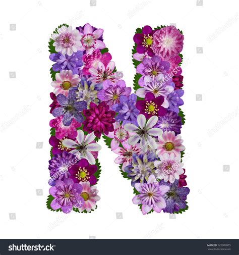 L Made by Alphabet Made Flower Letter N Stock Photo 122989015