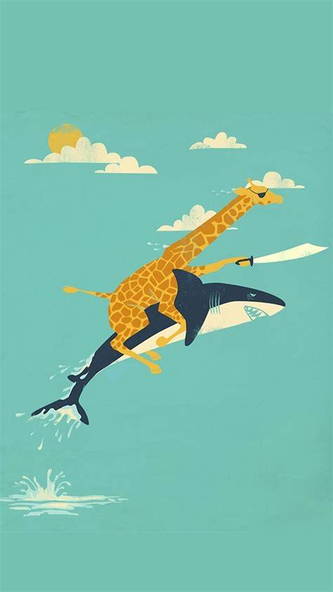 giraffe pattern iphone wallpaper funny giraffe and shark illustration wallpaper free