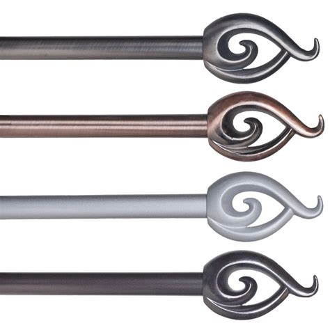 metal curtain rods and finials metal adjustable grommet curtain rod with flame finials 48