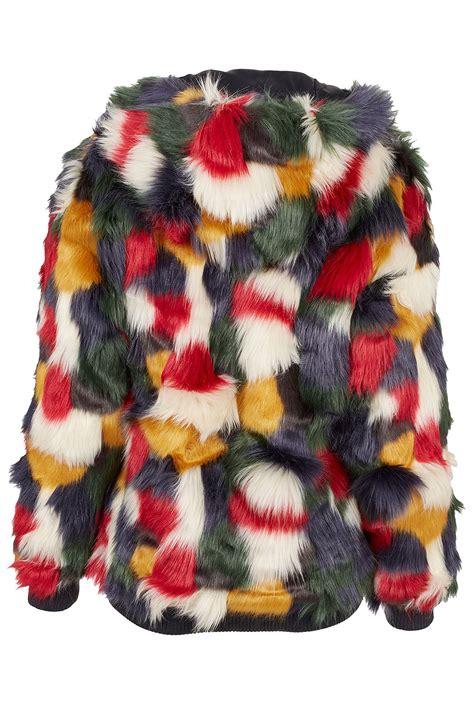 Patchwork Faux Fur Coat - topshop patchwork faux fur hooded coat lyst