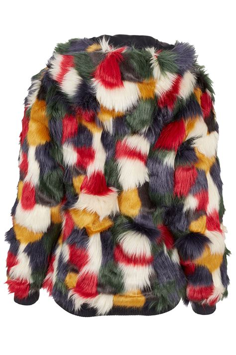 Topshop Patchwork Dress - lyst topshop patchwork faux fur hooded coat