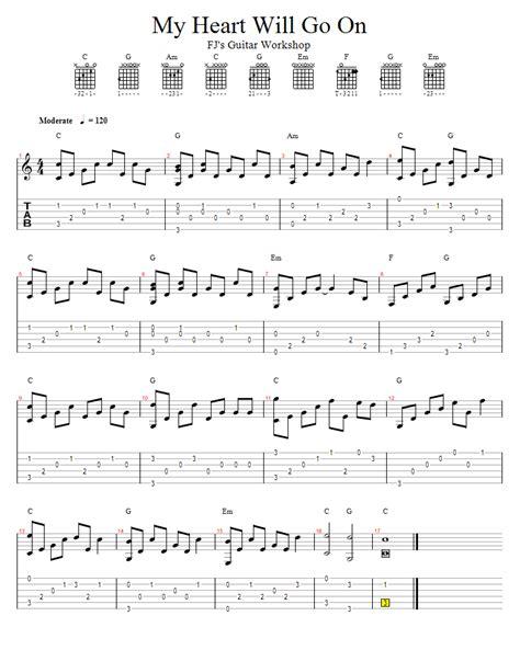 tutorial guitar my heart will go on fj s guitar workshop 吉他演奏 my heart will go on in c 筆記版
