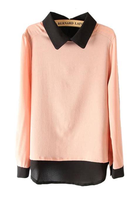 Sleeve Blouse multicolor patchwork lapel sleeve chiffon blouse