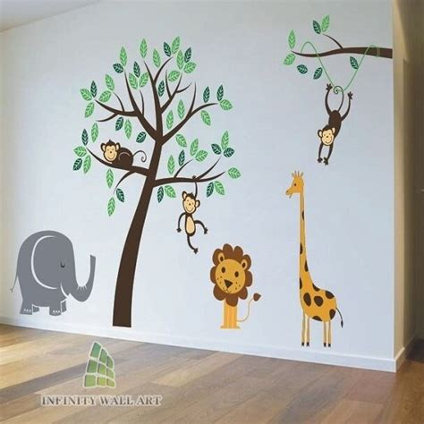 nursery wall stickers animal friends jungle safari tree