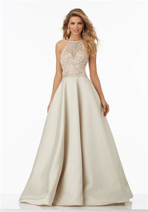 Wedding Dresses Prom Style by Satin Prom Gown With Beaded Net Illusion Bodice Style