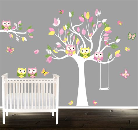 Girls Owl Wall Decals Nursery Decal Girls Nursery Tree Owl Nursery Wall Decals
