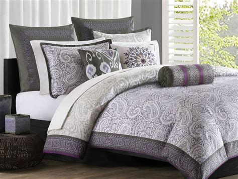 purple and grey comforter sets echo design marrakesh full comforter set purple grey