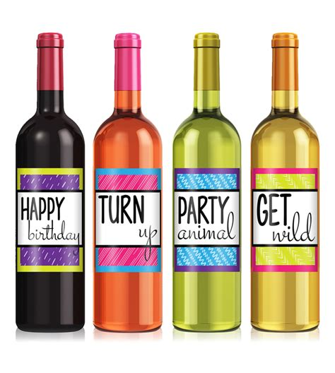 wine birthday colorful birthday wine label set icustomlabel