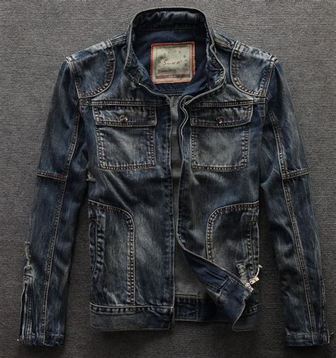 Premium Denim Jacket Ripped fashion vintage denim ripped stand collar motorcycle