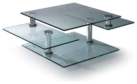 modern glass and chrome rectangular motion coffee table
