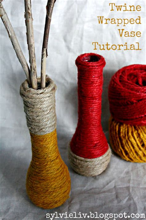Make A Vase Into A L by Sylvie Liv Twine Wrapped Vase Tutorial Fall Decor Diy