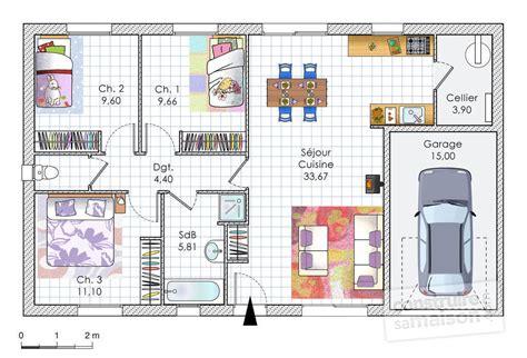 Faire Sa Cuisine En 3d 805 by Plan Maison Plain Pied 70m2 Ji01 Jornalagora