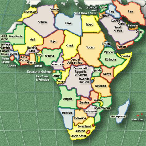 a clear africa map go east