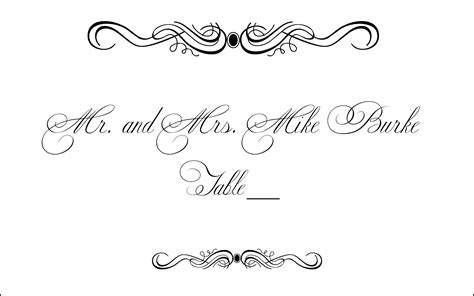 free vintage wedding place card template flourish cliparts