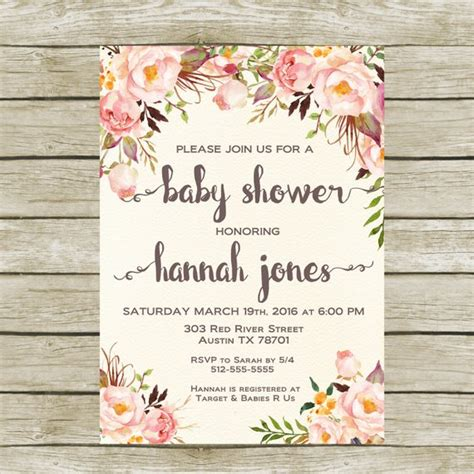 Shabby Chic Baby Shower Invites by Baby Shower Invitation Printable Baby Shower Invitation