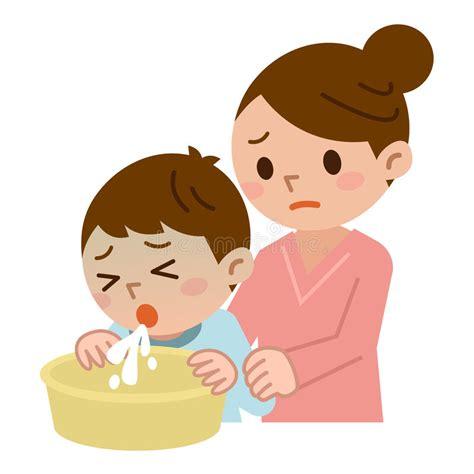 imagenes animadas vomitando moeder om met het kind worden gegeven te braken vector
