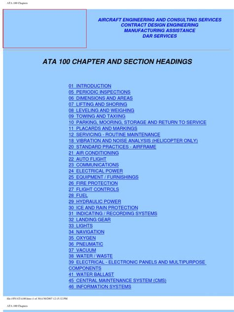 list of chapters ata 100 chapters aircraft