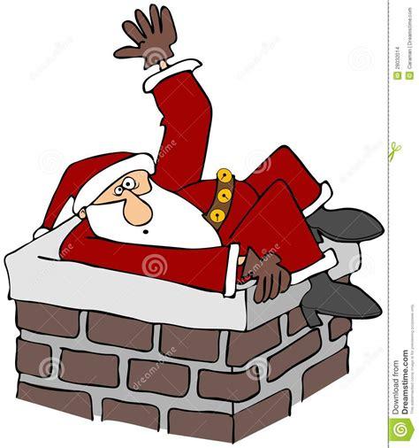 santa stuck in a chimney stock illustration image of