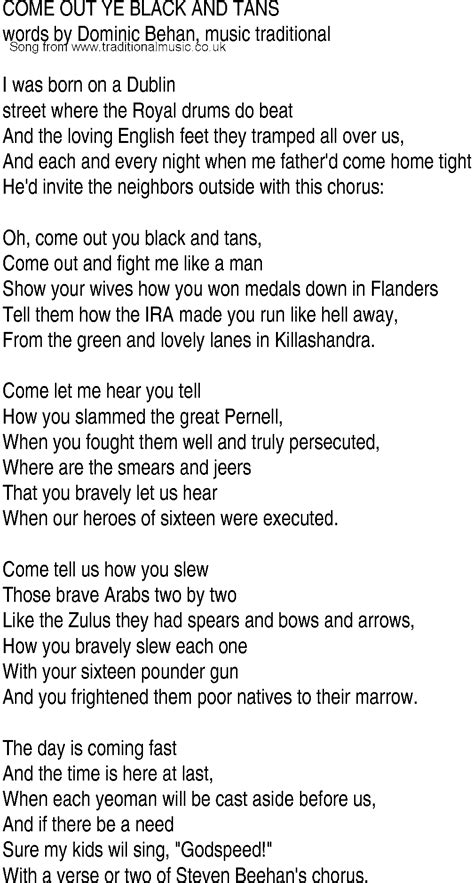 black lyrics irish music song and ballad lyrics for come out black tans