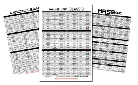 Calendario P 90x The P90x Workout Schedule Pdf Classic Lean Doubles