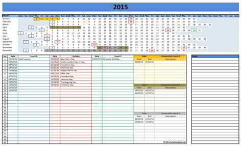 Activity Calendar Template Excel 2016 calendars excel templates