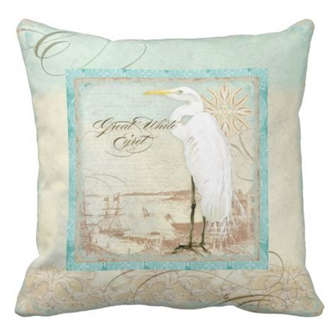 great white egret coastal home decor pillow zazzle