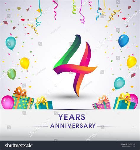 4th Anniversary Celebration Design Gift Box Stock Vector