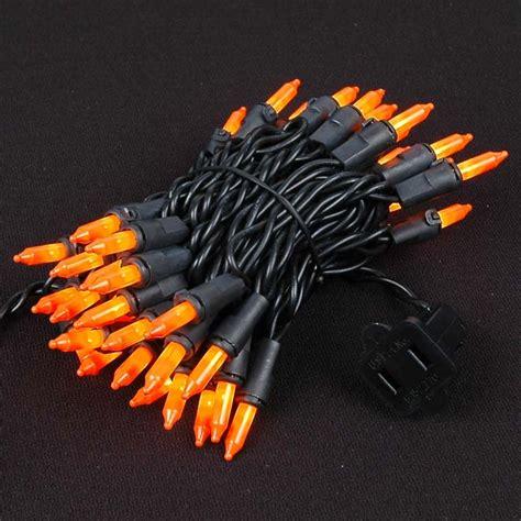 frosted orange christmas mini lights set 100 light black