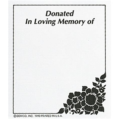 demco 174 bookplates donated in loving memory of demco com