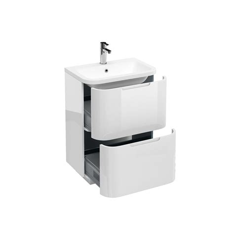 Aqua Compact 600 two drawer floor standing vanity unit