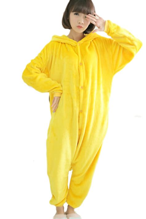 Ruri Costume Sleep Wear Bodycon Import yellow womens flannel pikachu jumpsuit