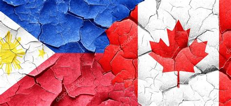 Philippines Flag With Canada Flag On A Grunge Cracked Wall Philippines Canada Flag