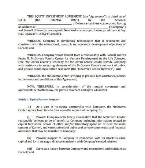 12 Sle Investment Contract Templates To Download Sle Templates Equity Purchase Agreement Template