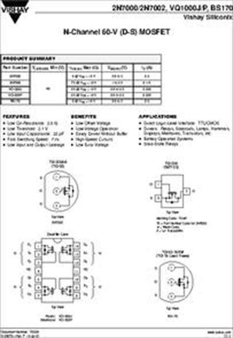 transistor bs170 datasheet bs170 datasheet enhancement mode mosfet transistors